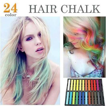 hair chalk for hair 24 PCS Colors pink green black color Fashion Hot Fast Non-toxic Temporary Pastel Hair Dye Color Chalk pen