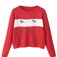 Red Contrast Zebra Pattern Long Sleeve Knit Sweater