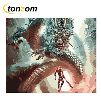 RIHE Man Facing Dragon Diy Painting By Numbers Oil Painting Battle Cuadros Decoracion Acrylic Paint On Canvas Modern Wall Art