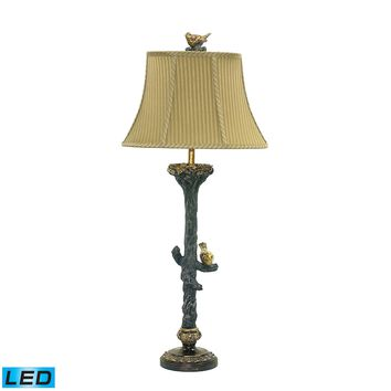 93-028-LED Bird On Branch LED Table Lamp in Black and Gold Leaf - Free Shipping!