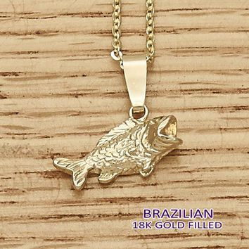 Gold Layered Women Fish Fancy Pendant, by Folks Jewelry
