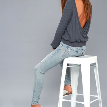 Sweetest Dreams Denim Blue Backless Sweater Top