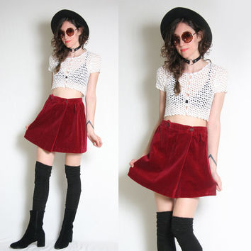 Maroon Velvet Mini Skirt - High Waisted Skirt - School Girl Skirt - Go Go Skirt - Mod Skirt - 60s Skirt - Grunge Skirt - Go Go Skirt