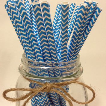 25 Fiesta Blue chevron paper straws // baby shower decorations // candy dessert buffet table // wedding // First birthday/new year year