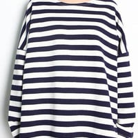 Long Sleeve Striped Sweatshirt