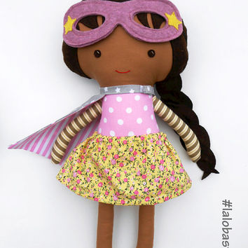 Superhero girl doll, african american rag doll, ideal kids gift to empower girls, for superhero themed birthday with mask and cape