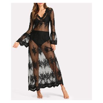 Black Long Sleeve Embroidered Sheer Maxi Dress