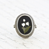 Victorian Pietra Dura Mosaic Flower Ring, Antique Sterling Love Token, Lily of the Valley Gothic Bohemian Bridal Bridesmaid Festival Jewelry
