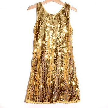 smilekids | Fully Lined Lace Trim Sequin Sparkly Dance Dress in Gold - Sizes 2 to 10 years | Online Store Powered by Storenvy