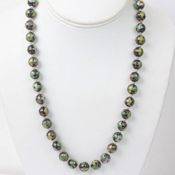 Green and Black Cloisonne Bead Necklace Porcelain Beads Vintage 21 Inches Long