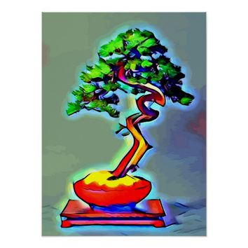 Magical Bonsai tree abstract original art poster