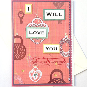 I Will Love You Always and Forever Handmade Pink Heart Lock & Key Greeting Card - Card for Anniversary, Wedding, Engagement, Marriage, Love