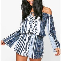 Lois Printed Off The Shoulder Playsuit | Boohoo