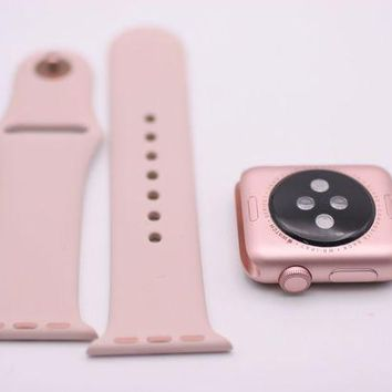 LMFON2D Apple Watch Series1 38mm Rose Gold Aluminum Case with Pink Sand Sport Band