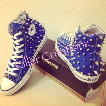 silver spiked high top converse any size color made to order