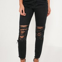 Missguided - Black Riot High Rise Shredded Knee Mom Jeans