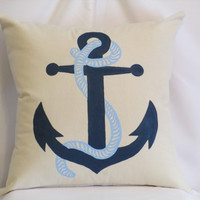 "Pillow Cover 18"" - Handpainted Anchor - Nautical- Dark Blue and Light Blue"
