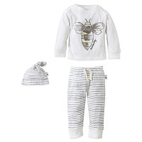 Burt's Bees Baby™ 3-Piece Organic Cotton Watercolor Bee Set in Grey/White
