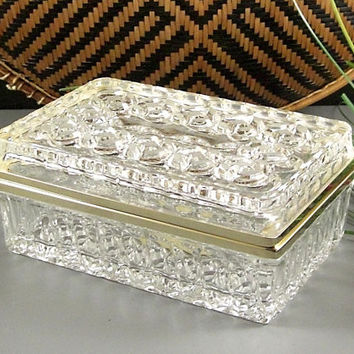 Cut Crystal Cigarette Tobacco Box // Trinket Jewelry Casket // Cathedral Windows // Hinged Lid // Ormolu Fittings // Western Germany
