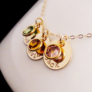 Personalized Gold Discs Birthstone Necklace, Kids Names Mommy Jewelry, Childrens Names, Best Friends, Sorority, Mothers Day, Holiday Gift