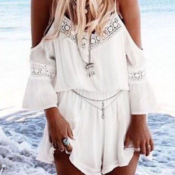White Lace Embroidered Off Shoulder V Neck Romper