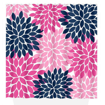 Flower SHOWER CURTAIN, Flower Burst Petals, Navy Hot Pink, Girl MONOGRAM Personalized, Floral Bathroom Decor, Beach Towel, Plush Bath Mat