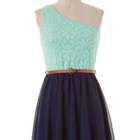 Reception Ready Dress - Navy and Mint