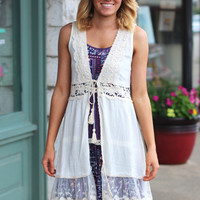 Tied in Crochet + Lace Sleeveless Cardigan {Cream}