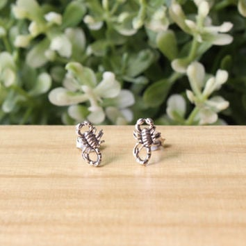 Scorpio Stud Earrings, Sterling Silver Scorpion Studs, Scorpio Earrings - Scorpion Jewelry - Insect Earring, Scorpio sign, Cartilage Earring