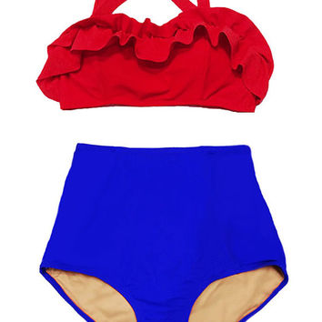 Pin up High waist waisted Swimsuit Bathing suit Bikini 2PC Swimwear : Red Fringe Top and Blue High-waist Retro Bottom Shorts Bottom size S M