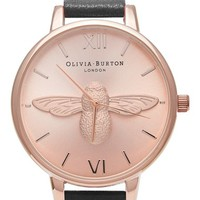Olivia Burton 'Molded Bee' Leather Strap Watch, 38mm   Nordstrom