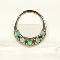 Septum Ring Nose Ring Septum Jewelry Body Light Turquoise Opal Stone Piercing  Sterling Silver Indian Style 14g 16g - SE027R SS OP03