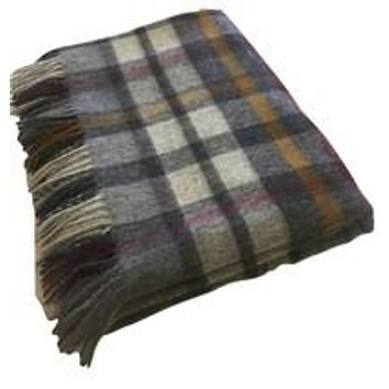 Merino Lambswool Throw Blanket - Buttertubs - Gray, Made in England