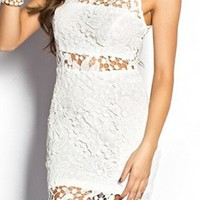 Cut Out Crochet Lace Sheath Mini Dress
