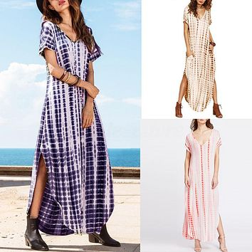 Plus S-5XL Women Plunge V Neck Tie Dye Short Sleeve Beach Curved Long Maxi Dress