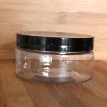 Plastic Jar  8oz clear with Black Lid for cosmetic,cream, butter storage, craft supplies,container