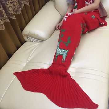 Handcraft Crochet Christmas Reindeer Knitted Sleeping Bag Mermaid Tail Blanket
