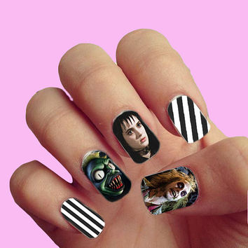 Beetlejuice Pop Art Vintage Movie Halloween Trick or Treat - Nail Art - Nail Decals