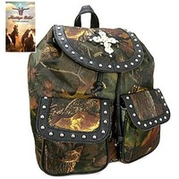 Heritage West Camo Print Cross Backpack Purse (Black)