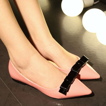 Leather Mixed Color Pointy Toe Flat Heel Bow Loafers