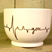 Heartbeat Mug // Hand Painted Cup with EKG // My Heart Beats for You // Skipped a Beat