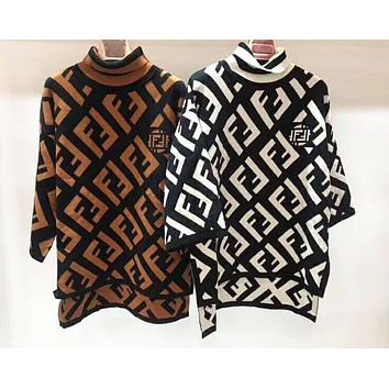 Fendi Autumn And Winter High Quality New Fashion More Letter Knit Cloak Sweater Women