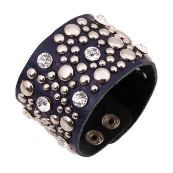 Genuine Leather Bracelets Brand Fashion Rhinestone Punk Wide Rivet Cuff Bracelets & Bangle for Women Men Jewelry Accessory Gifts