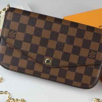 Kuyou Lv Louis Vuitton Fashion Women Men Gb2969 M61276 Monogram Service Small Leather Goods Wallets Pochette Felicie 21 * 3 * 11 Cm