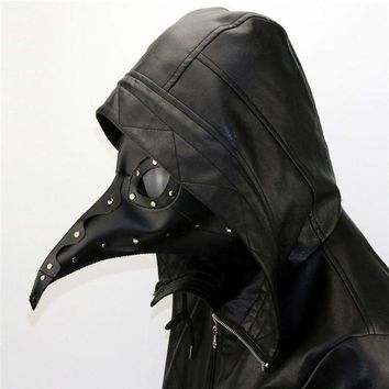 MDIG6F New Dr. Beulenpest Steampunk Plague Doctor Mask Beak Masks Steampunk Black PU Birds Halloween Art Cosplay Carnaval Costume
