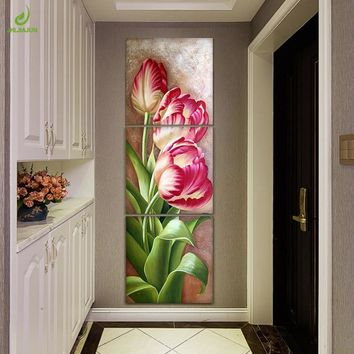 JHLJIAJUN Nordic Modular Pictures Canvas Triptych Poster Tulip Flowers Wall Picture For Living Room Wall Art Oil Painting Poster