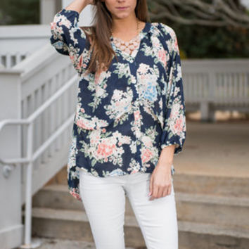 Only Time Will Tell Blouse, Navy
