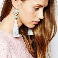 Rhinestone Moonstone Drop Tassel Earrings