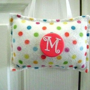 Polka Dots Door Hanger Pillow Personalized Initial White Coral Yellow Lime Green Turquoise