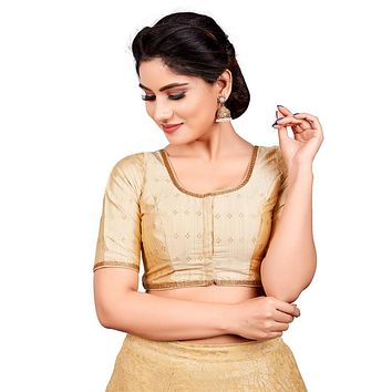 Designer Indian Gold Dupion Silk Padded Front Open Hooks Elbow Sleeves Saree Blouse (Co-722)